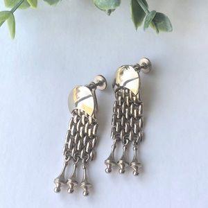 Gold Chain Earrings ScrewBack Dangle Tassel